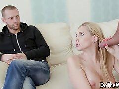 Blonde wife Klara New vs strangers big cock