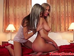 Busty babe fisted by lesbian in lingerie