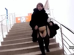 Sexy BBW Katrin Porto in fur coat shows her hairy cunt outdoor