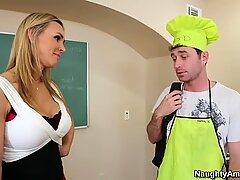 Hungry for cock british cougar bitch Tanya Tate seduces her student and sucks his dick deepthroat