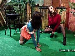 Lesbian bartender spanked and analed