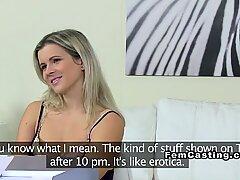 Blonde lesbian amateur eats female agent on casting