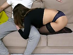 Teen Blowjob 69 Pose and Doggystyle Sex POV On the   ouch!