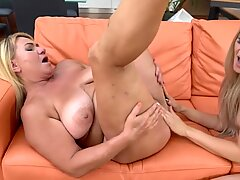 Horny Granny Enjoys Licking Teen Pussy