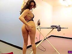 Mature lingerie beauty gives POV handjob