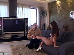 Curvaceous housewife Debbie White lets her husband lick her feet