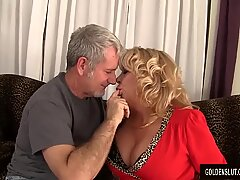grandmother takes a meaty cock and jizm in her mouth