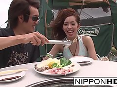 Japanese girlfriend blows her guy outdoors